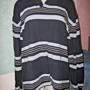 Navy & Light Blue Stripe Long Sleeve Polo Shirt XL